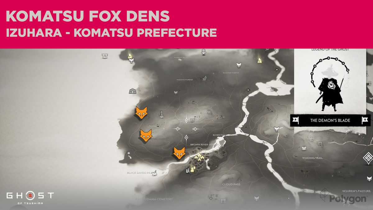 Fox Den locations in Komatsu in Ghost of Tsushima