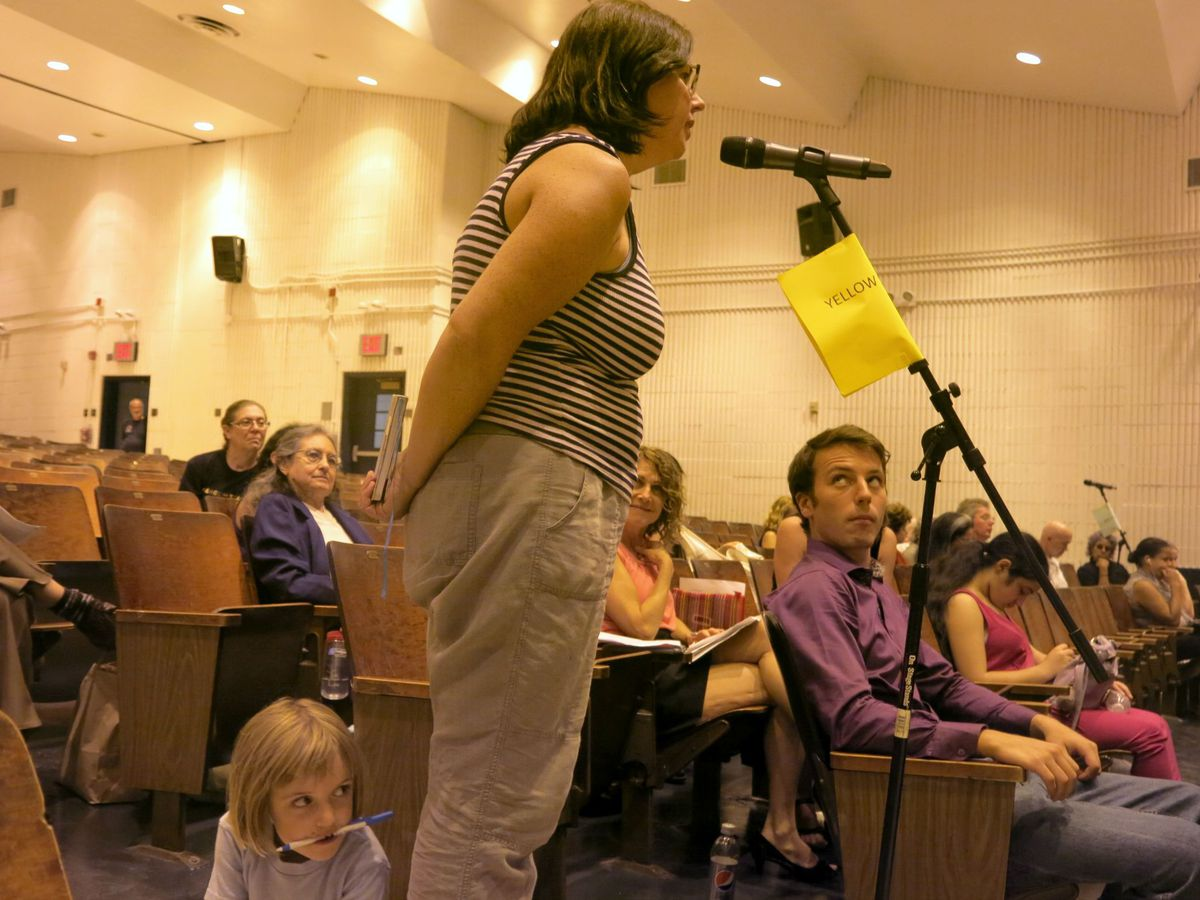 Katie Lapham, a teacher in East New York, spoke about the importance of school diversity for her students and her daughter (pictured) at the Aug. 26 Panel for Educational Policy meeting.