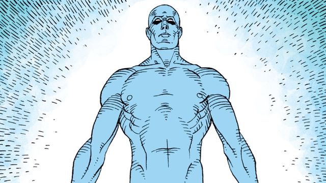 Doctor Manhattan manifests a physical form for the first time since gaining his powers, in Watchmen, DC Comics (1987).