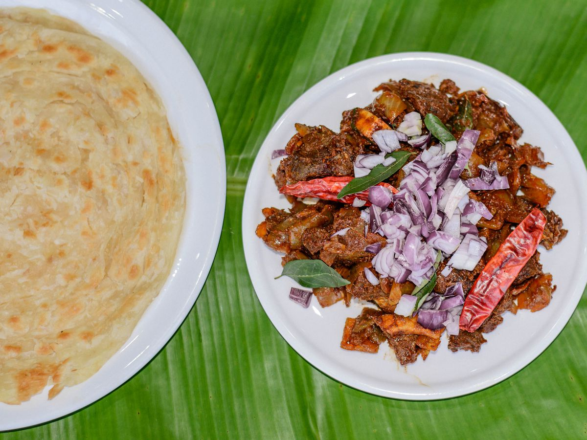 Beef fry with parotta at Thattukdada in East Ham, one of London's best south Indian restaurants