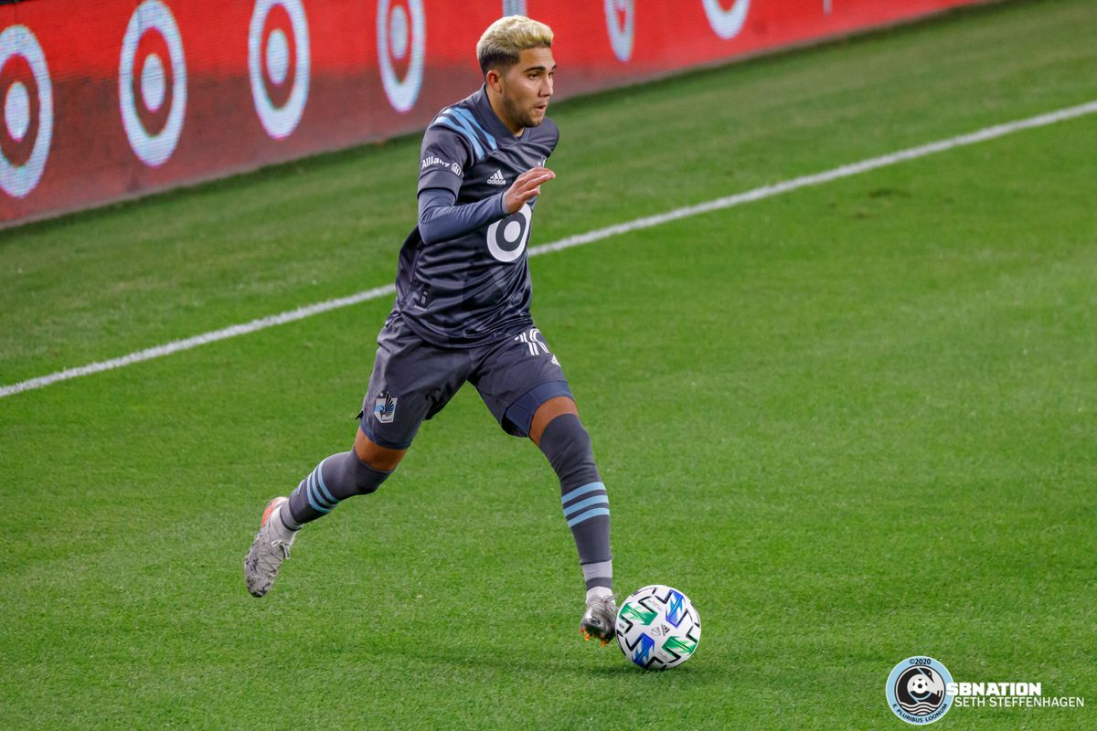 October 28, 2020 - Saint Paul, Minnesota, United States - Minnesota United midfielder Emanuel Reynoso (10) dribbles the ball during the match against the Colorado Rapids at Allianz Field.