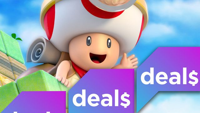 The Polygon Deals logo over a screenshot of Captain Toad waving
