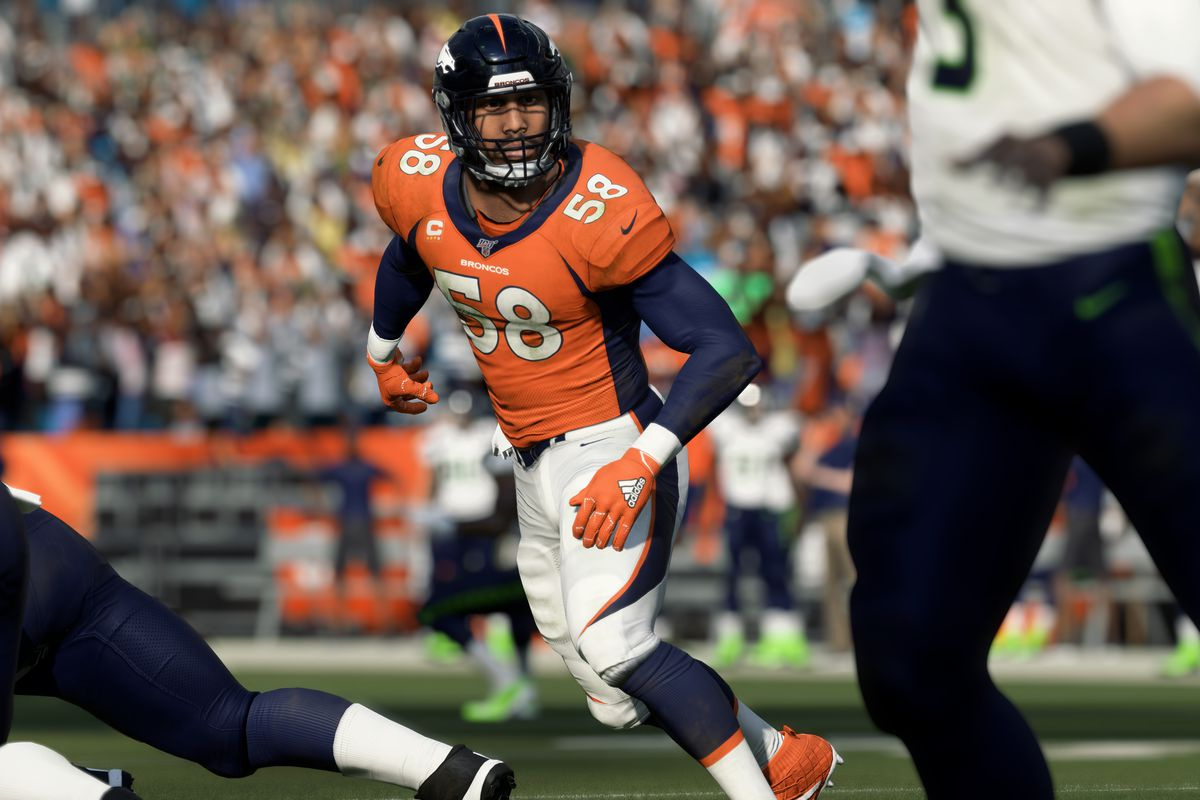 Von Miller of the Denver Broncos looks toward Russell Wilson of the Seattle Seahawks in Madden NFL 20