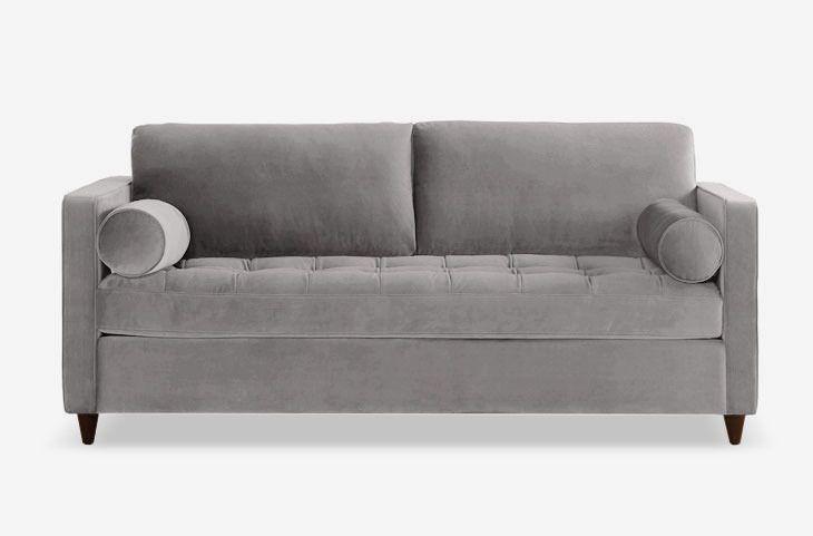 Velvet gray sofa.