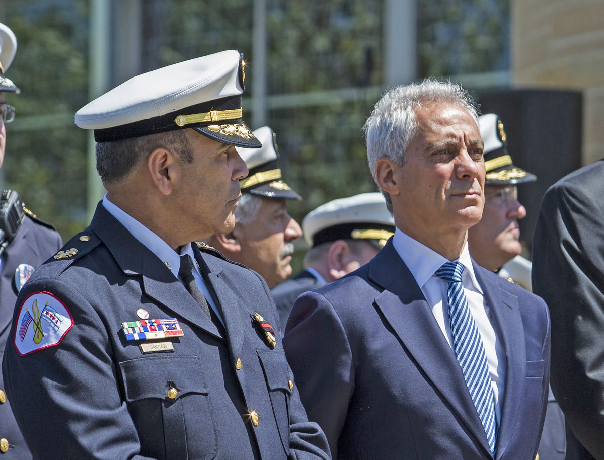 When Chicago Fire Commissioner Jose A. Santiago (left) retired in August, he was facing disciplinary action from Mayor Rahm Emanuel for failing to file a complaint against his drive for using the N-wordy, records obtained by the Chicago Sun-Times show. |