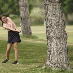Savannah Ranson, Desert Hills, hits out of the trees during the Utah Section PGA Spring Individual Championship in Rose Park Golf Course in Rose Park on Thursday, June 4, 2020.