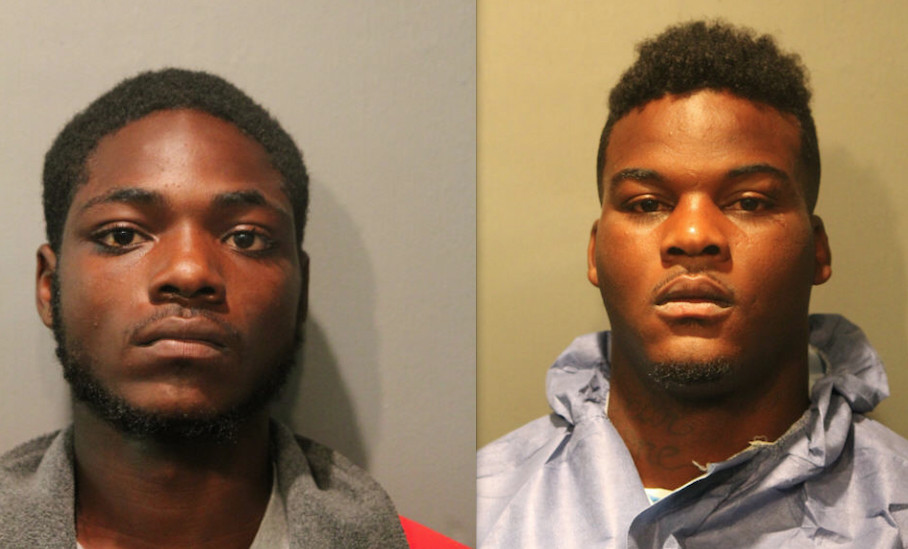 Donzell Grant, 20, and Cortez Harrington, 24, each face seven felony charges after they allegedly robbed a T-Mobile store and shot an officer, according to Chicago Police. | Chicago Police