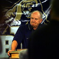 BYU football coach LaVell Edwards announced his retirement at a press conference at Cougar Stadium. PHOTO BY STUART JOHNSON