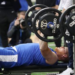 Tight end Matt Bushman participates in the bench press during BYU pro day in Provo on Friday, March 26, 2021.