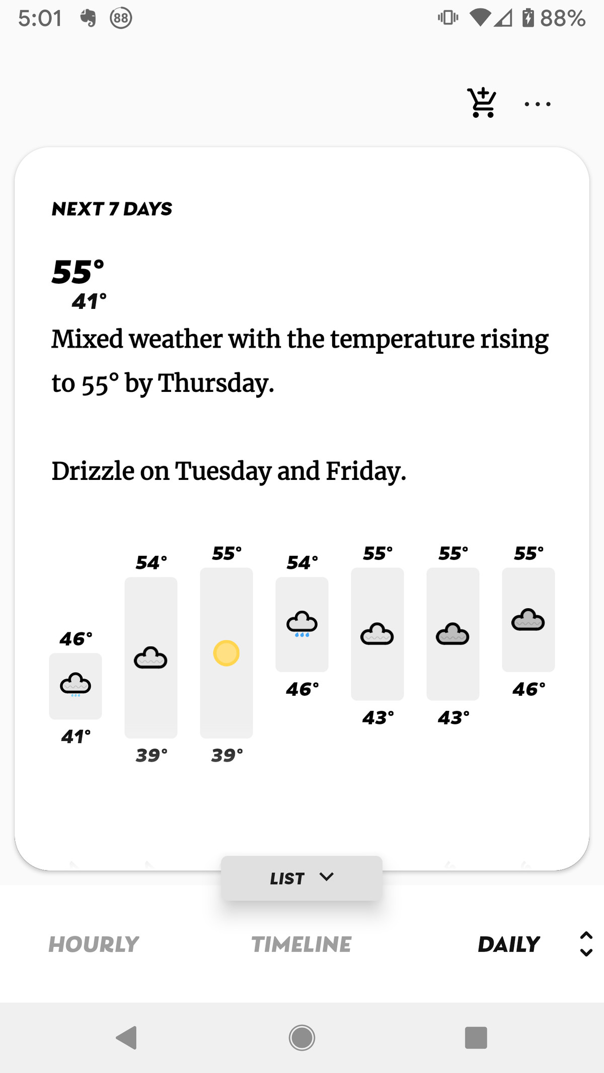 "Scroll from left to right at the bottom to see the temperature, ""feels like,"" precipitation, etc."