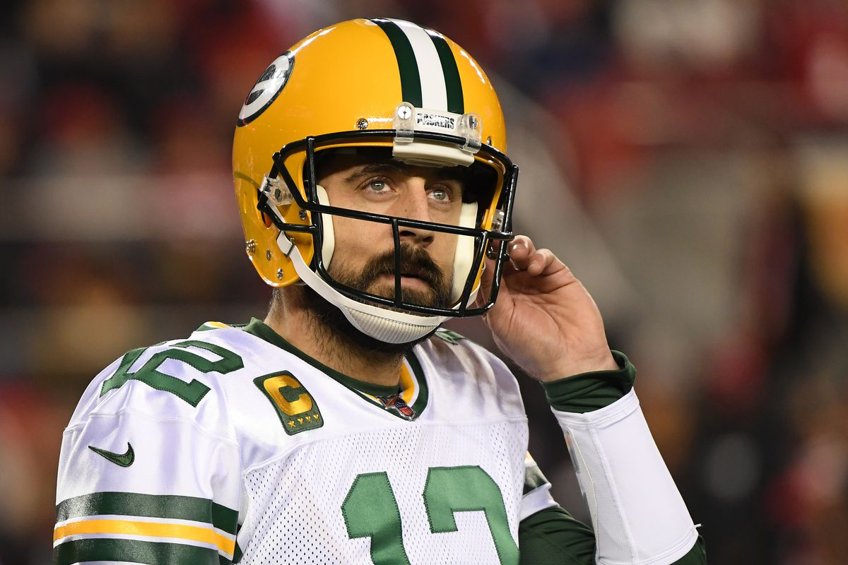 Aaron Rodgers #12 of the Green Bay Packers reacts after a play against the San Francisco 49ers during the NFC Championship game at Levi's Stadium on January 19, 2020 in Santa Clara, California.