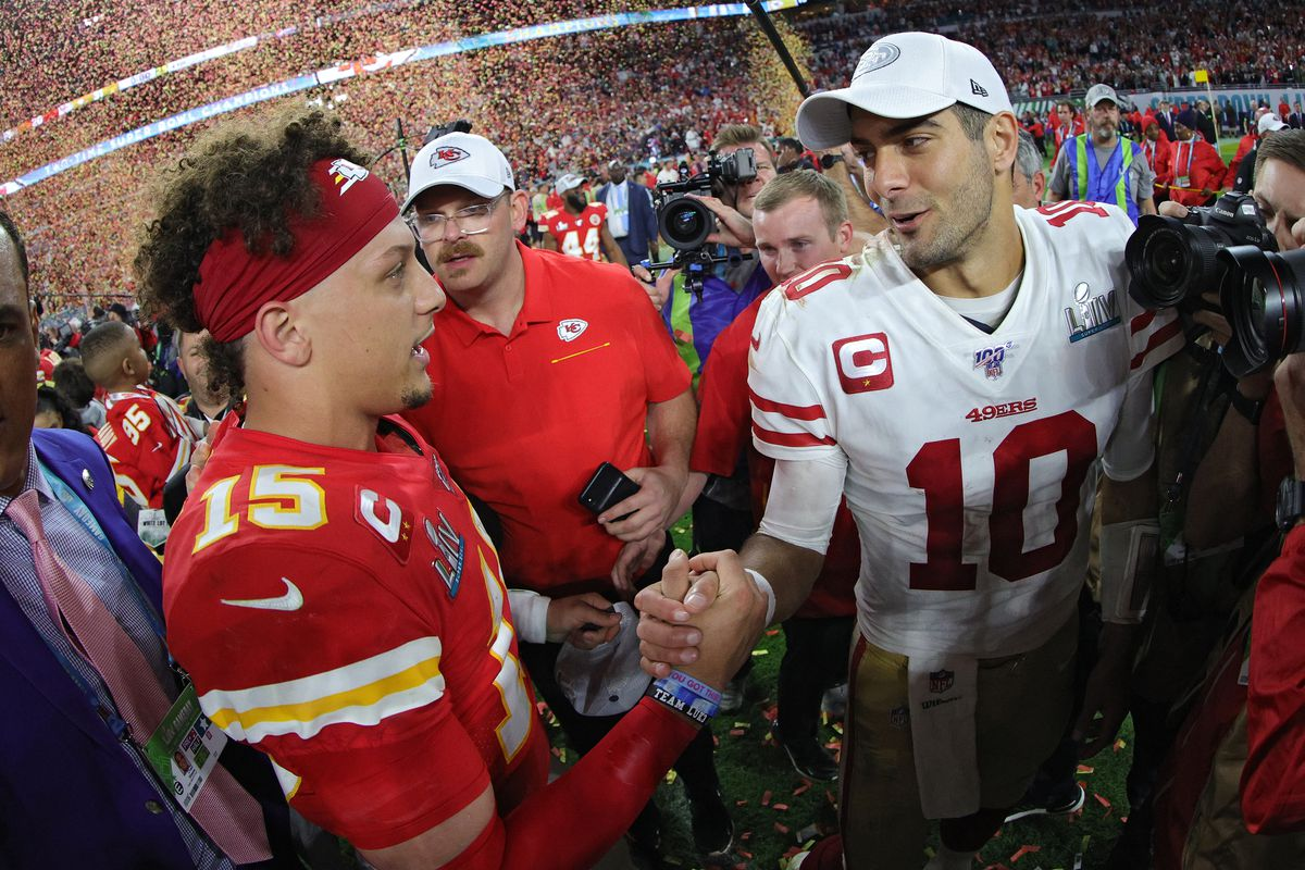 Patrick Mahomes #15 of the Kansas City Chiefs shakes hands with Jimmy Garoppolo #10 of the San Francisco 49ers after Super Bowl LIV at Hard Rock Stadium on February 02, 2020 in Miami, Florida.