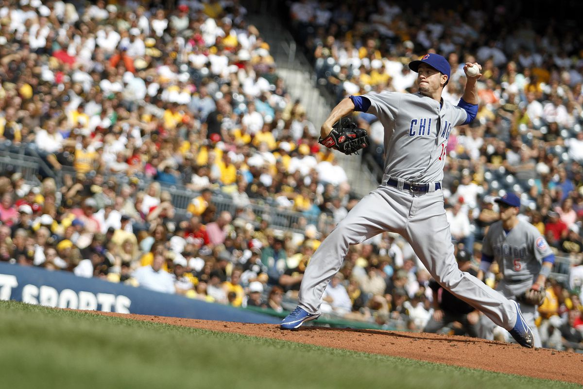 Chris Rusin of the Chicago Cubs pitches (apparently uphill) against the Pittsburgh Pirates at PNC Park in Pittsburgh, Pennsylvania.  (Photo by Justin K. Aller/Getty Images)