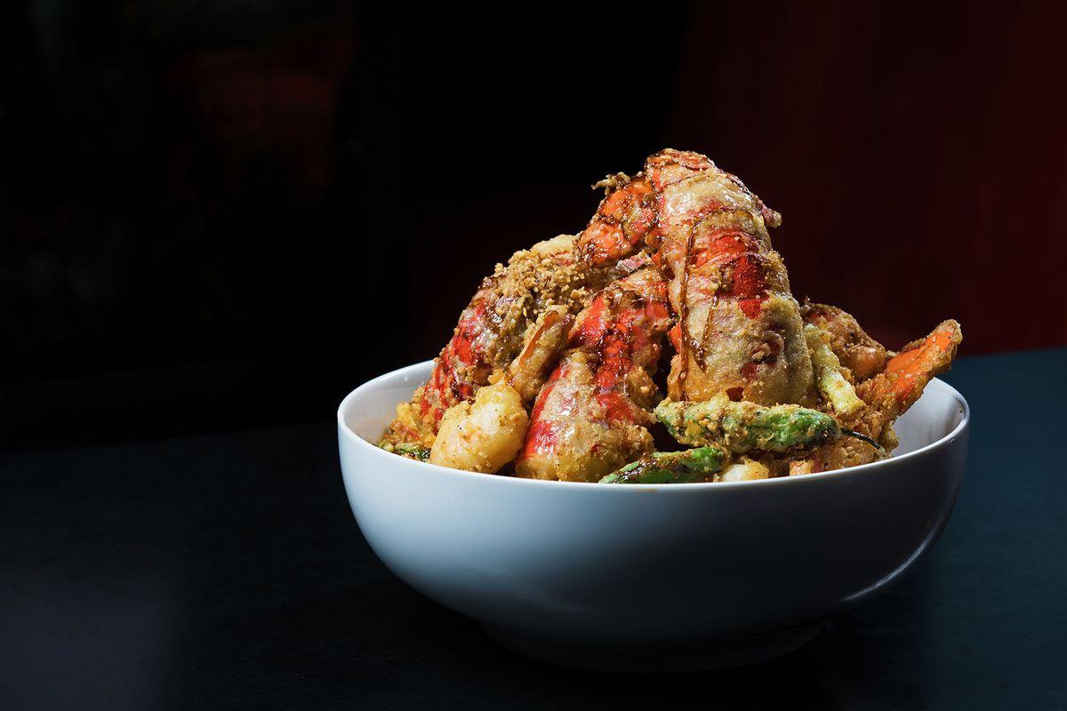 Salt and pepper lobster and shrimp at Momofuku