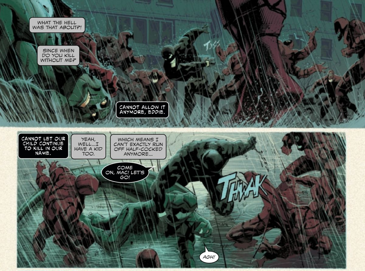 Eddie and his symbiote disagree about whether to use deadly force, each using their child as motivation, in Absolute Carnage #3, Marvel Comics (2019).