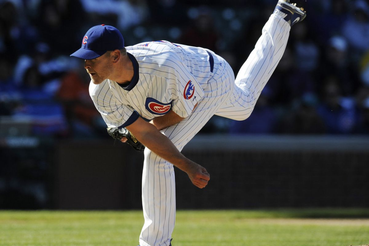 Chicago, IL, USA; Chicago Cubs relief pitcher Kerry Wood strikes out three Milwaukee Brewers hitters he faced in the eighth inning at Wrigley Field. The Brewers defeated the Cubs 2-1.  Credit: David Banks-US PRESSWIRE