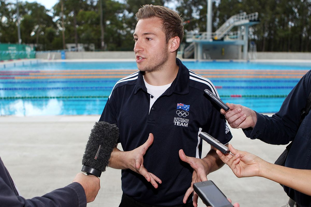 BRISBANE, AUSTRALIA - MAY 29:  Diver Matthew Mitcham talks to media after the Australian 2012 Olympic Games team announcement at Chandler Aquatic Centre on May 29, 2012 in Brisbane, Australia.  (Photo by Chris Hyde/Getty Images)