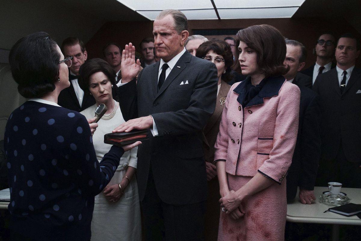Johnson is sworn in as president following Kennedy's assassination in LBJ