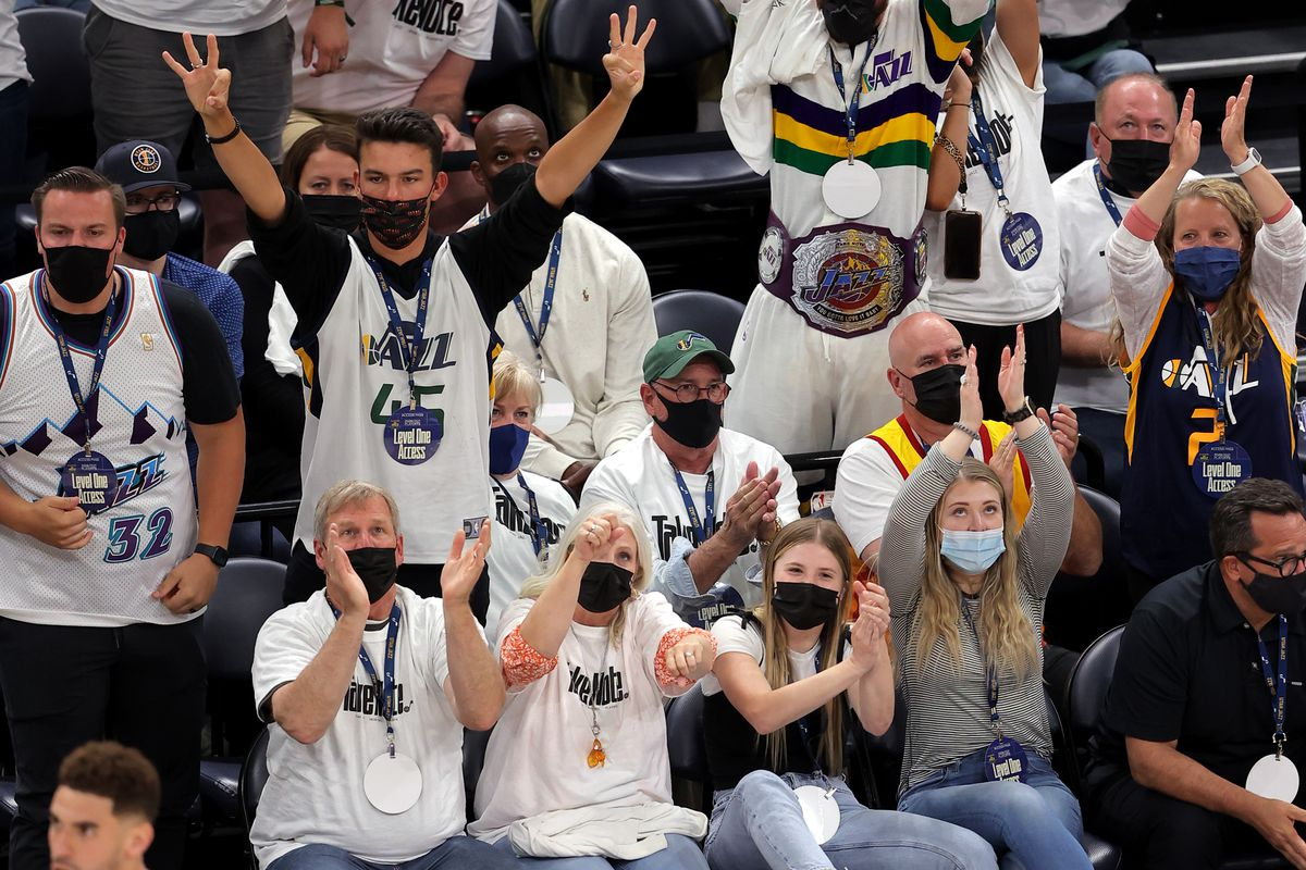Fans erupt after Jazz forward Georges Niang hit a 3-pointer during Game 1 of their NBA playoff series against the Grizzlies.