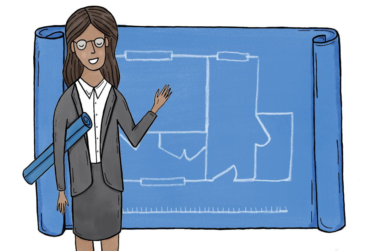 Illustration of a woman in a suit holding a rolled-up blueprint under one arm and pointing to another one spread out behind her.
