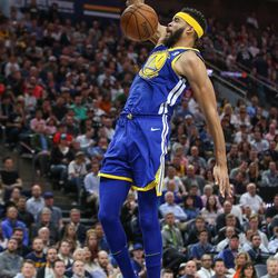 Golden State Warriors center JaVale McGee (1) dunks during the game against the Utah Jazz at Vivint Arena in Salt Lake City on Tuesday, April 10, 2018.