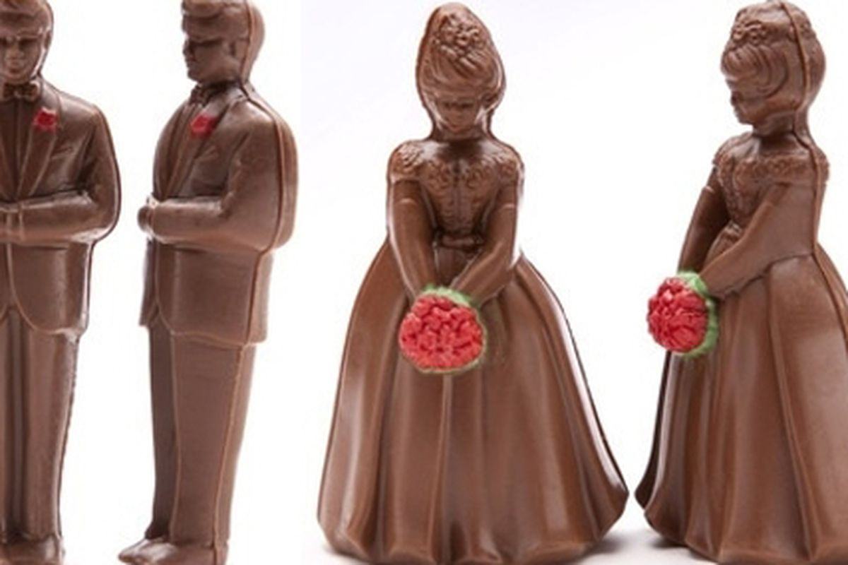 """Chocolate same-sex wedding cake toppers by NYC's Martine's Chocolates via <a href=""""http://manolobrides.com/2009/09/23/one-sweet-union/"""">Manolo Brides</a>"""