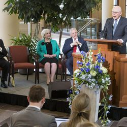 Elder Dallin H. Oaks, of the Quorum of the Twelve Apostles, speaks at a news conference Tuesday, Jan. 27, 2015, inside the Conference Center in Salt Lake City, as LDS leaders reemphasize support for LGBT nondiscrimination laws that protect religious freedoms.