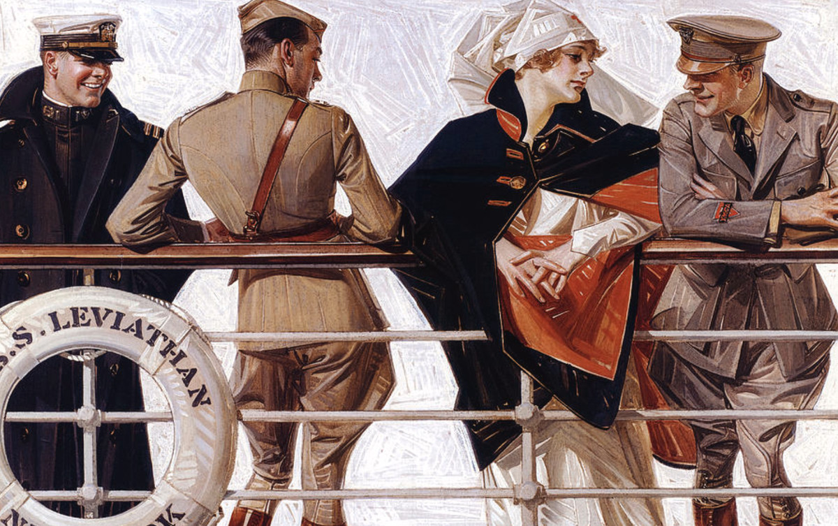 Three men in military uniforms lean on the deck railing of the S.S. Leviathan, exchanging glances with each other. Also, there's a lady in a fancy cape but nobody is looking at her.