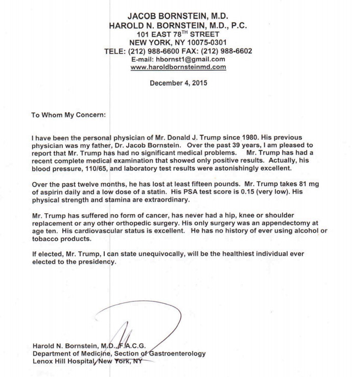 Donald trumps doctor just wrote the trumpiest letter about trump doctor note altavistaventures Image collections