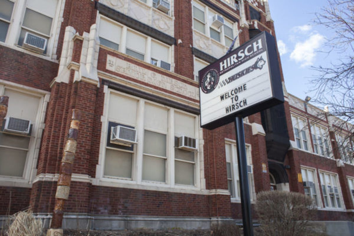 """Emil G. Hirsch Metropolitan High School in the Greater Grand Crossing neighborhood on the South Side of Chicago., will receive a $400,000  """"equity grant"""" for 2019-20 to compensate for declining enrollment."""