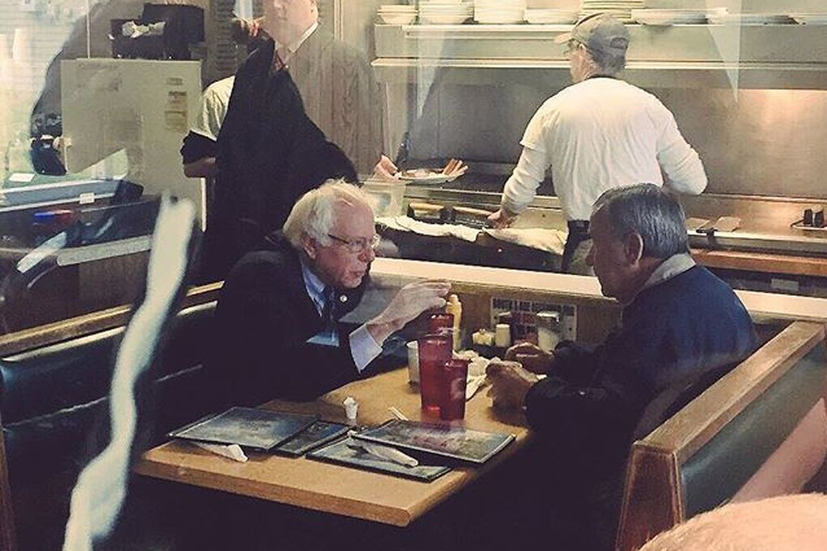 Bernie Sanders at Peppy's Grill in Indianapolis