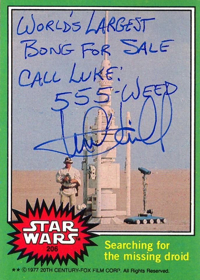 Marke Hamill signed these real Star Wars trading cards in very inappropriate ways