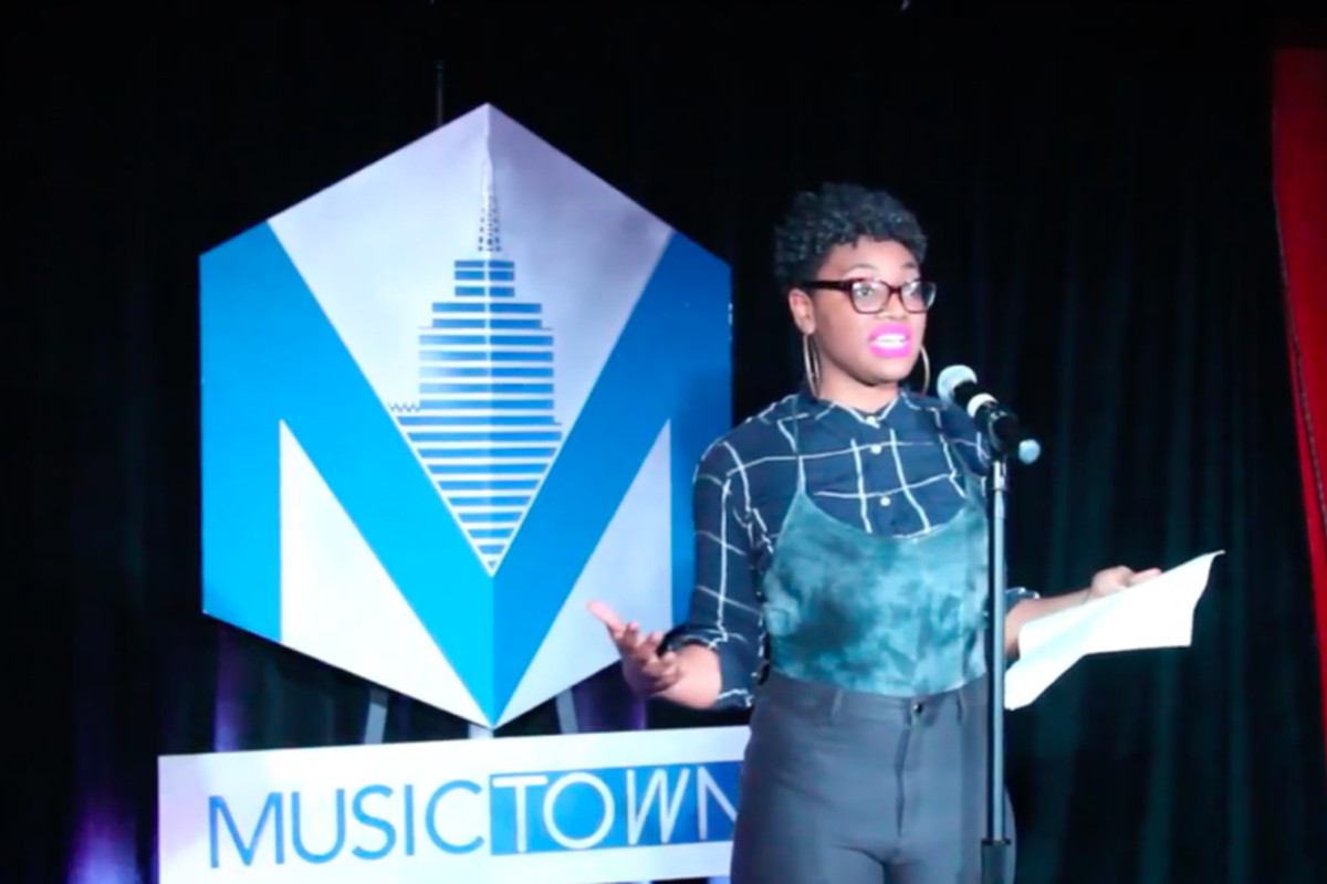 Silver Danielle Moore, a teacher at the Detroit Leadership Academy, tells her story at the Tale the Teacher storytelling event on October 6, 2018.