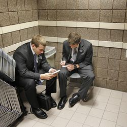 Elder Jordan Guccione, from Kansas, left, and Elder Calvin Donner from Dallas, Texas,  study in the stairway on the week of the commemoration of 50 years of language training at the Missionary Training Center for LDS missionaries  Tuesday, Jan. 31, 2012, in Provo, Utah.