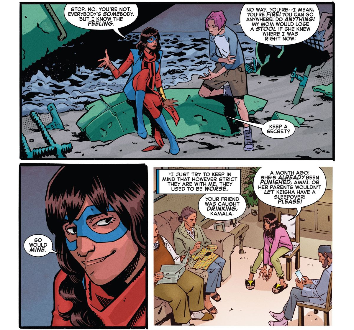 Ms. Marvel comforts a lonely teen who wishes she were more like her, and shares that she also has strict parents who don't get it in Marvels Snapshots: Captain Marvel, Marvel Comics (2021).