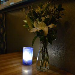 Each table has fresh flowers
