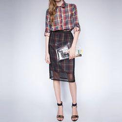 "<b>Pixie market</b> Mesh Plaid Skirt, <a href=""http://www.pixiemarket.com/bottoms/mesh-plaid-skirt.html"">$61</a>"