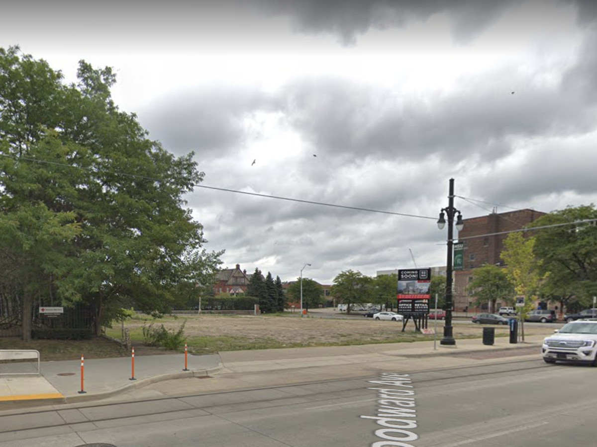 An empty lot with trees on both sides of it and a street in front.