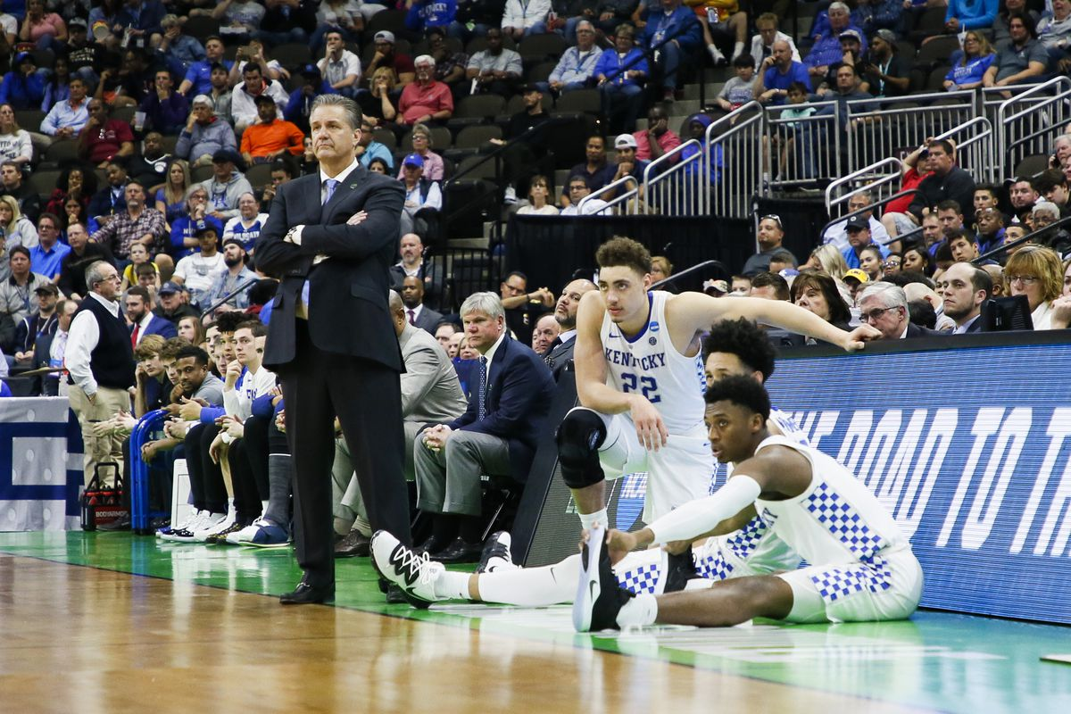 Kentucky Wildcats head coach John Calipari looks on from the bench during a game against the Abilene Christian Wildcats in the first round of the 2019 NCAA Photos via Getty Images Men's Basketball Tournament held at VyStar Veterans Memorial Arena on March 21, 2019 in Jacksonville, Florida.