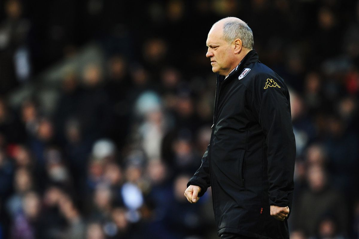 LONDON, ENGLAND - JANUARY 21:  Martin Jol, manager of Fulham walks out during the Barclays Premier League match between Fulham and Newcastle United at Craven Cottage on January 21, 2012 in London, England.  (Photo by Mike Hewitt/Getty Images)