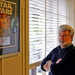 """George Lucas, director of """"Star Wars: Episode III — Revenge of the Sith,"""" poses at Skywalker Ranch in San Rafael, Calif."""