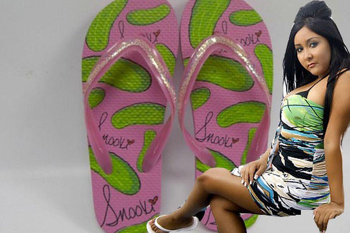 "Flip flops via <a href=""http://www.wwd.com/footwear-news/snooki-expands-with-flip-flops-3659672?browsets=523870619757#"">WWD</a>"