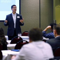 Hans Hendershot speaks during the MountainWest Capital Network Business Boot Camp in Sandy on Wednesday, March 23, 2016.