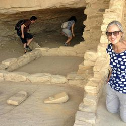 This August 2012 photo shows Karen Matthews at Balcony House, Mesa Verde National Park. The tools called manos and metates, excavated there, were used for grinding corn. Matthews, her mother and daughter took a road trip through the Four Corners region of the Southwest U.S. to visit places connected to Native American culture, both ancient and contemporary.
