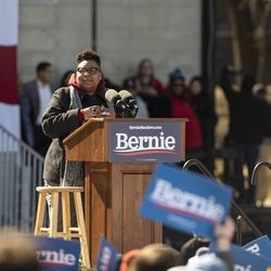 Ald. Jeanette Taylor (20th) speaks to thousands of people gathered at the Bernie Sanders rally Saturday, March 7, 2020 in Grant Park.