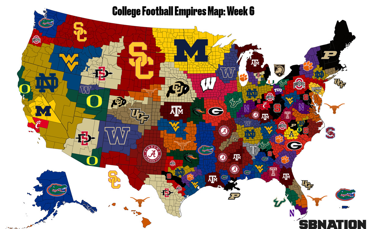 The College Football Empires Map, where Florida is now the land ...