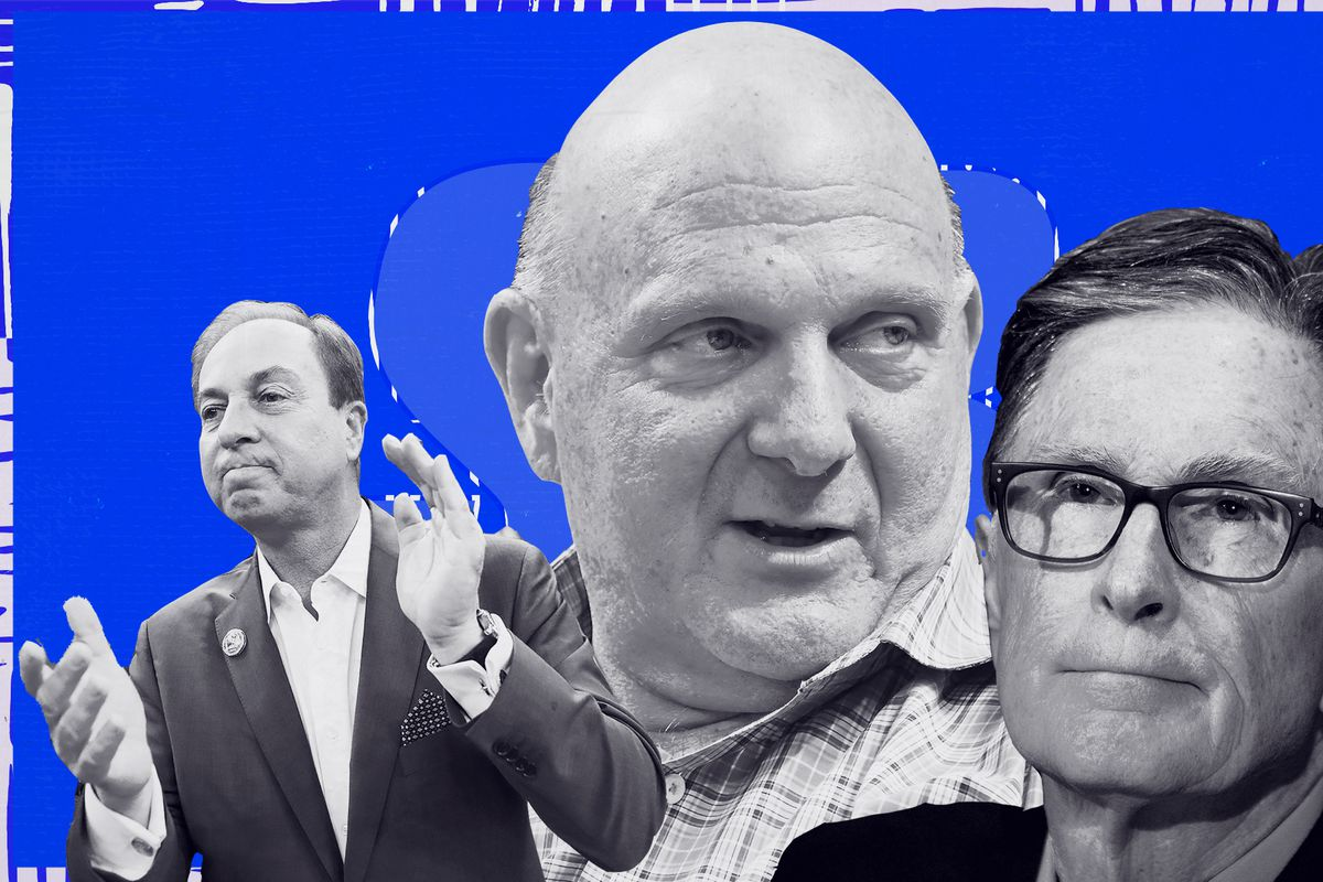 A collage of Joe Lacob, Steve Ballmer, and John Henry, from left to right.