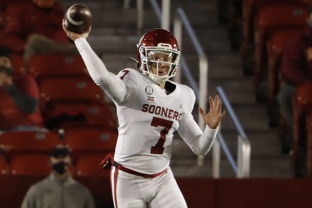 Quarterback Spencer Rattler of the Oklahoma Sooners throws the ball in the first half of the play at Jack Trice Stadium on October 3, 2020 in Ames, Iowa.