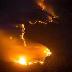 This photo of the Quail Fire in Alpine was taken at 4 a.m. on Wednesday, July 4, 2012.