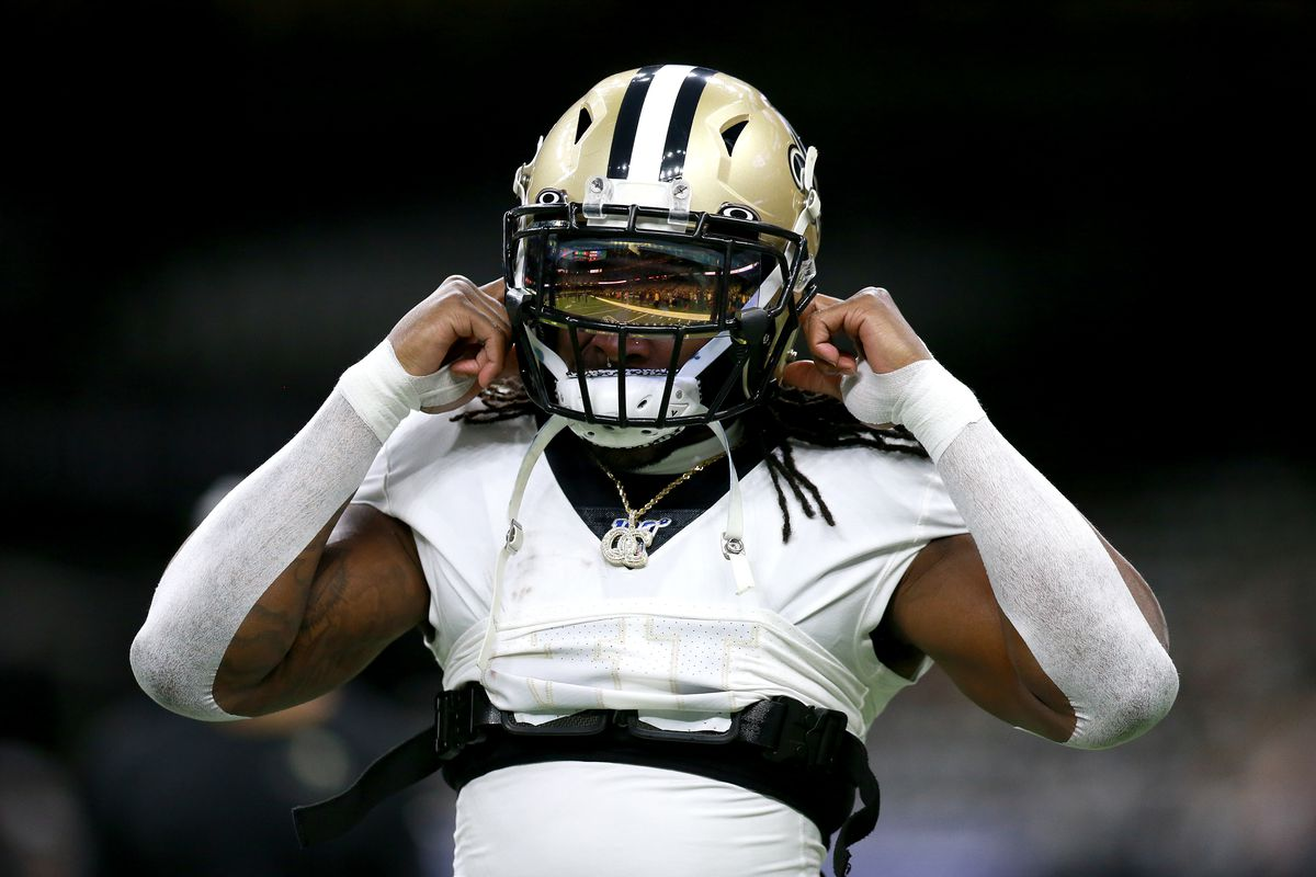 Alvin Kamara of the New Orleans Saints in action during the NFC Wild Card Playoff game against the Minnesota Vikings at Mercedes Benz Superdome on January 05, 2020 in New Orleans, Louisiana.